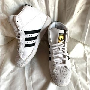ADIDAS High Top White & Black Sneakers Shoes ~ 10